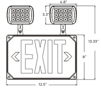 Red Exterior Combo Exit Sign | Square LED Lamps Dimensions