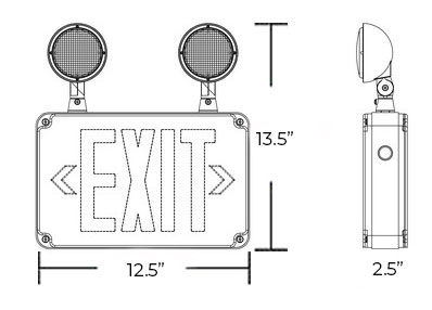 Red Exterior Combo Exit Sign Dimensions