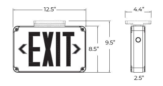 Wet Location Exterior Red LED Exit Sign | Cold Weather Option Dimensions