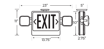 Assembled in the USA Exit Light Combo Dimensions